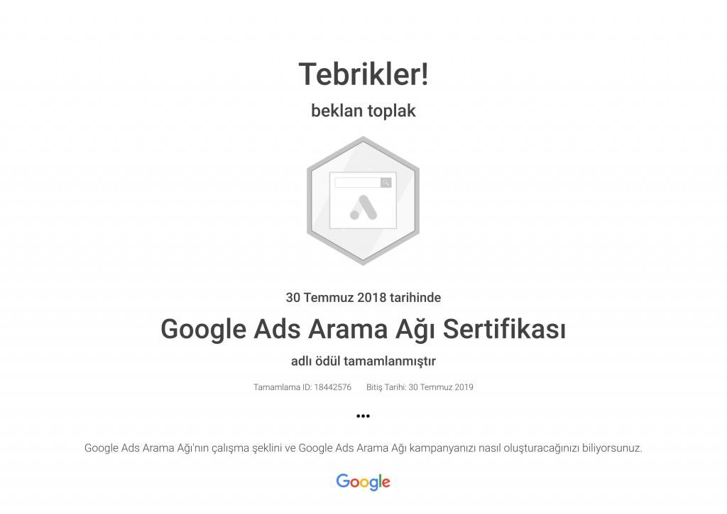 Google Ads Arama Ağı Sertifikası _ Google